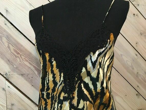 Vtg Lucie Ann Size Small Satin Gold Thread Zebra … - image 4