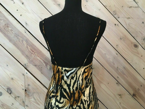 Vtg Lucie Ann Size Small Satin Gold Thread Zebra … - image 5