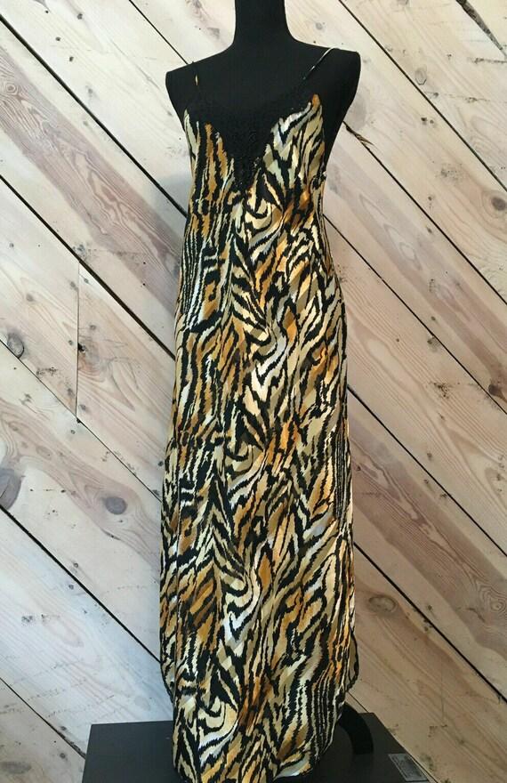 Vtg Lucie Ann Size Small Satin Gold Thread Zebra … - image 1