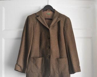 Vintage International Scene Tan Tweed Jacket Bomber Style Made in Russia 1980s-90s