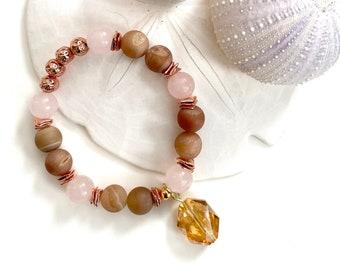 Bracelet   Beaded Bracelet   Essential Oil Diffuser Bracelet   Essential Oil Diffuser Jewelry   Agate   Rose Quartz   Rose Gold Bracelet