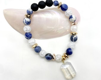Bracelet   Beaded Bracelet   Essential Oil Diffuser Bracelet   Essential Oil Diffuser Jewelry   Aromatherapy Jewelry   Sodalite and Quartz