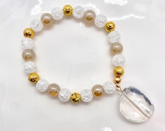 Beaded Bracelet   Essential Oil Diffusion Bracelet   Essential Oil Diffuser Jewelry   Crackled Clear Quartz & Champagne Luster Glass