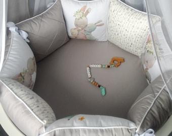 Forest crib bedding set full+crib bumper for woodland nursery. Grey crib bedding for newborn round crib.