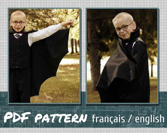 Vampire cape  PDF PATTERN  kid and adult size  sewing