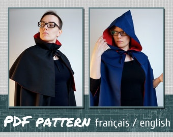 Sewing pattern, cape, 3 different models, downloadable PDF