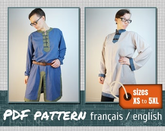 Sewing pattern, Viking style tunic, 2 different models, downloadable PDF