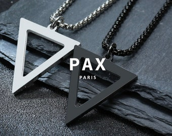 Geometric Pendant HT Chevron Charm Silver Plated Pendant Triangle Charms Triangle Necklace KSM53 31x46mm Antique Silver Triangle