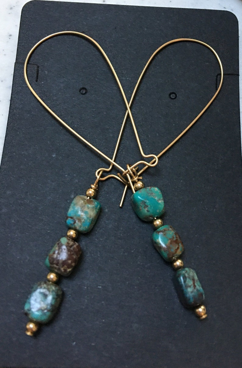Unique  Royston Turquoise Gold Filled Beaded Dangle Kidney Wire  Earrings!