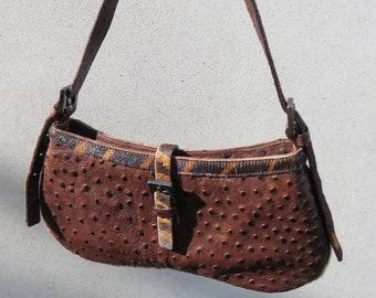 patchwork bag melopea Modernist leather shoulder bag ostrich crossbody bag Ostrich and goat leather handbag Evening handbag with chain