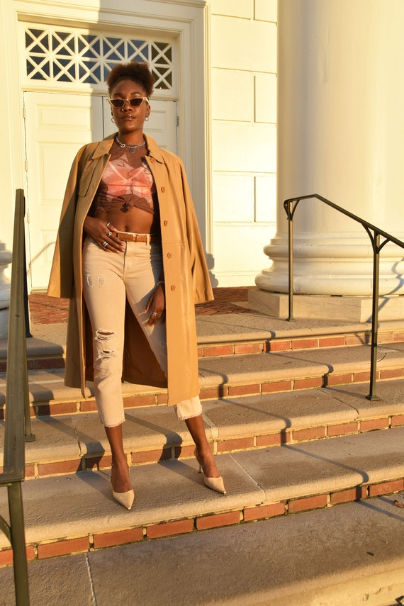 CALVIN KLEIN Tan Leather Trench Coat