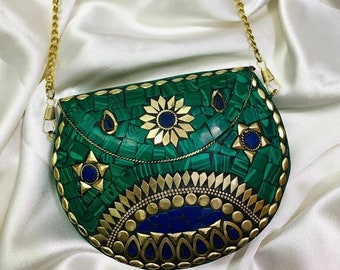 Beautiful vintage British Made Art Deco evening clutch bag