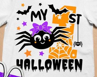 My 1st Halloween Girl svg, Halloween Girl SVG, My First Halloween svg, Spider girl svg, Kids Halloween Silhouette, files for Cricut