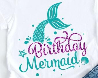 Birthday Mermaid svg, Mermaid Tail svg, Mermaid girl svg, Mermaid Party Tshirt