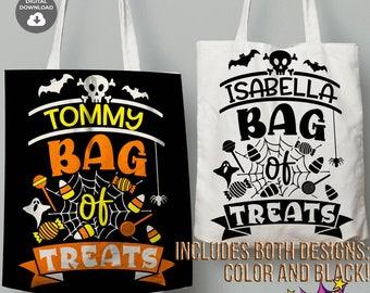 Name Treat Bag svg, Treats bag svg, Custom Kids Name svg, Trick or Treat svg, cut file, Bag of Treats svg, cricut, Bag of Treats Cut Files