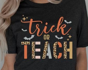 Trick or teach Halloween svg, png, dxf, eps, jpg, School teachers, Halloween fall svg, trick or treat, leopard svg, Instant download