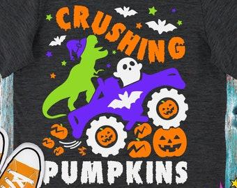 Pumpkin Truck SVG, Halloween Boy Svg, Saurus monster truck, Crushing Pumpkins Svg, Fall Monster Truck, Funny Kids, Cricut, Digital Cut Files