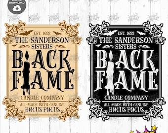 Black flame candle SVG, Sanderson Sisters SVG, Hocus Pocus SVG, Halloween Cut Files