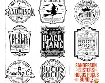 Sanderson Sisters SVG Mega Bundle, Black Flame Candle, Brewing Co, Hocus Pocus Svg, Witch's Brew svg, Brewing Co, Sublimation, Bestseller