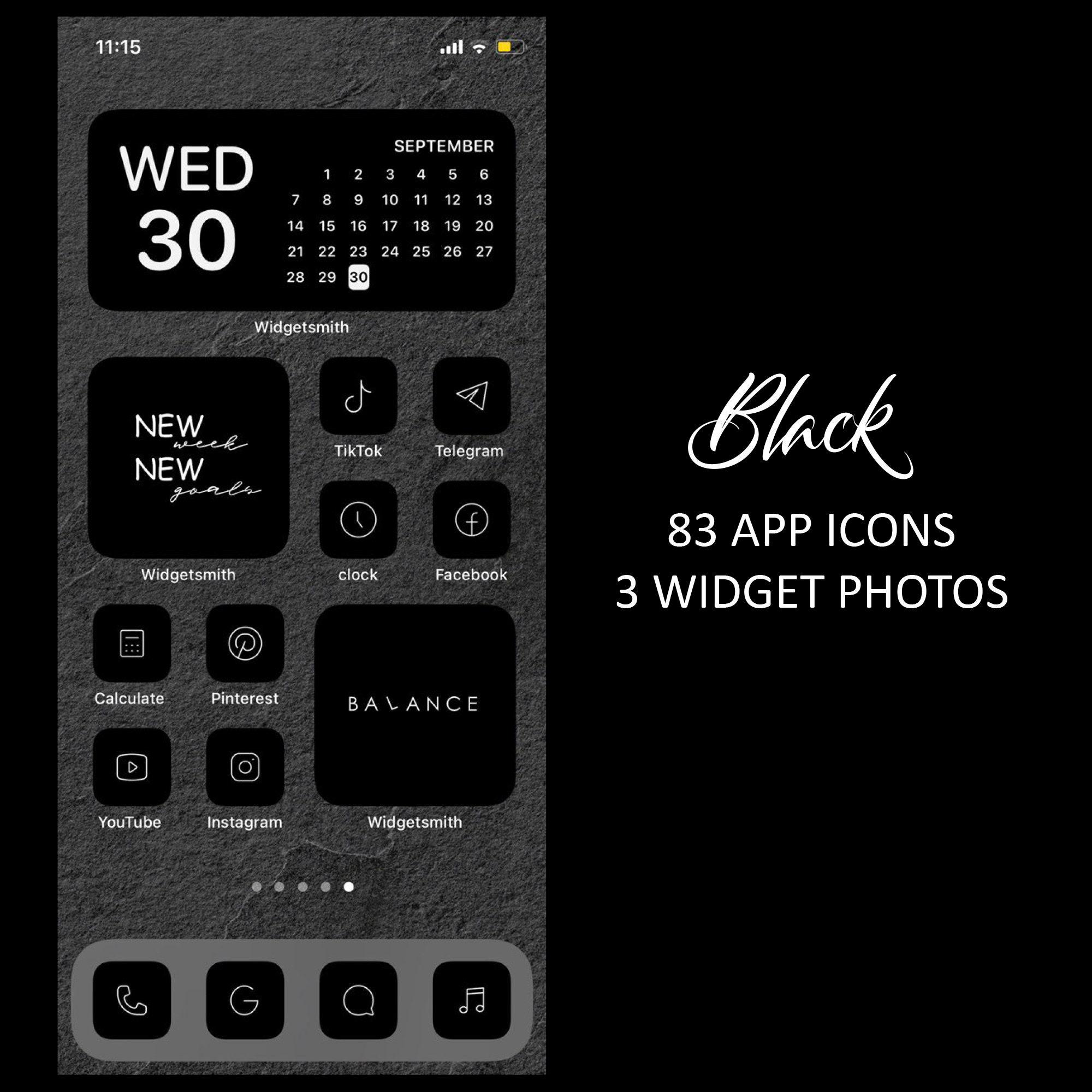 21 Black iOS 21 App Icons Dark Mode Widget iOS 21 Cover Widgetsmith  Aesthetic Minimal Icon Iphone Apple Pack Icons Set Shortcut Aesthetic