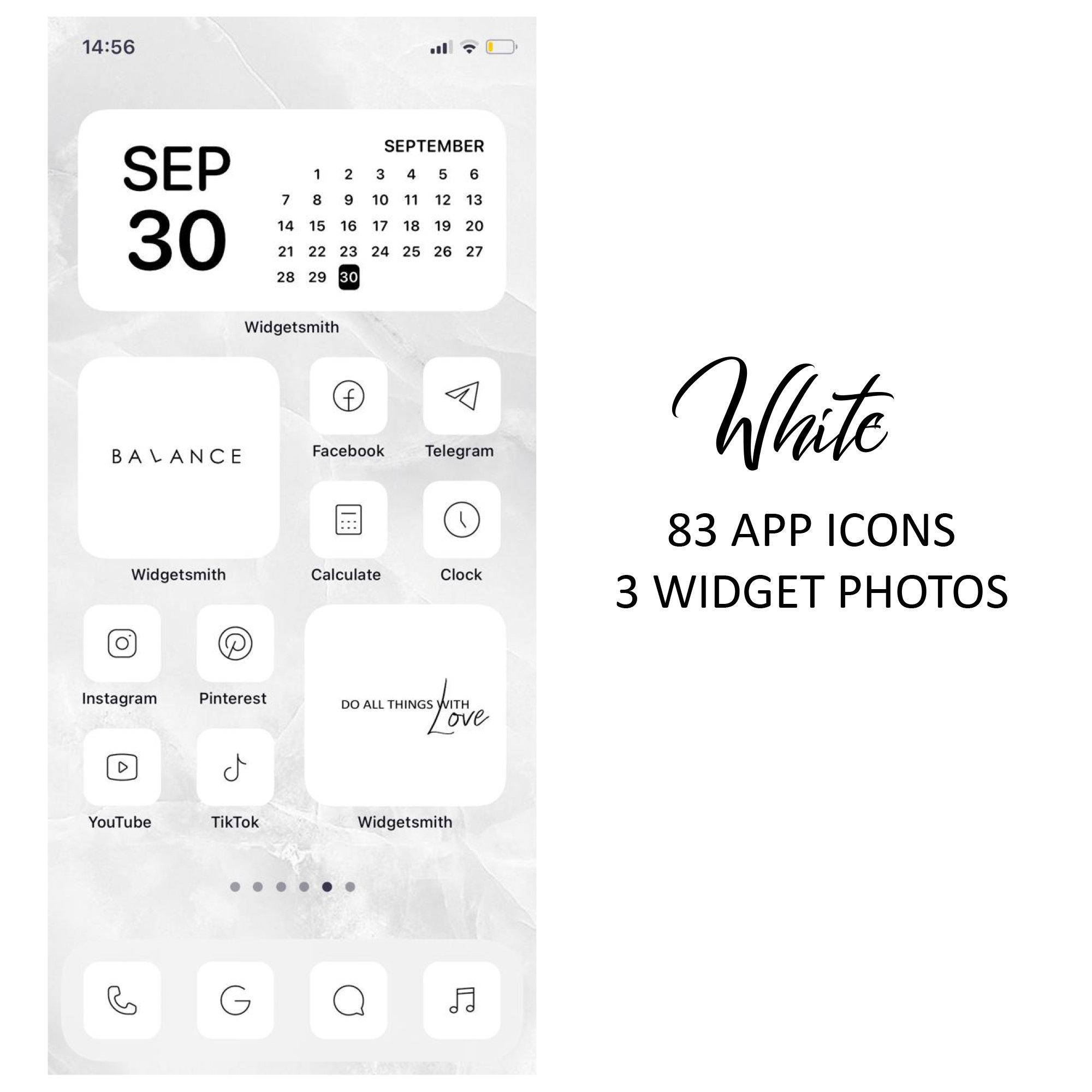 21 White iOS 21 App Icons Light Mood iOS21 Widget Cover Widgetsmith  Aesthetic Minimal Pack Iphone Apple Icons Set Shortcut Aesthetic