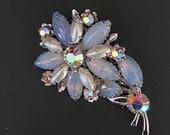 Vintage Climbing Clusters Opalescent Blue Purple Pearl Chrystal Mid Century Flower Brooch
