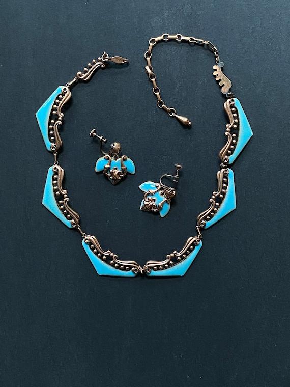 Rare Vintage Matisse Enamel on Copper/Turquoise F… - image 7