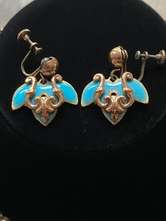 Rare Vintage Matisse Enamel on Copper/Turquoise F… - image 2