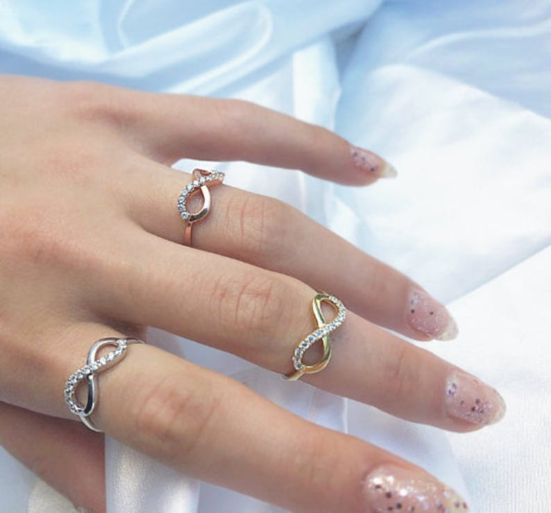 Rose Gold Silver Tones Simple Infinity Symbol Ring Straight Band 925 Friendship Ring Zircon Gem Bridal jewellery