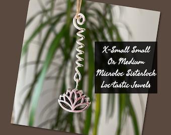 Small or Medium Sisterlock Microloc Jewelry Silver with orange heart in X-Small