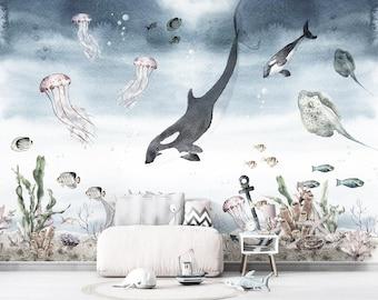 Ocean Nursery Wallpaper, Underwater Wallpaper, Sea Wallpaper, Whale Wallpaper, Watercolor ocean wallpaper, Jellyfish Skate Coral