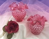 Two Fenton Cranberry Opalescent Hobnail Ruffled Vases. Four Inches in Height and Base is Two and One Quarter Inches.