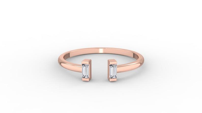 Open Baguette Ring Baguette Diamond Ring Love Ring Baguette Adjustable Ring Dainty Diamond Ring Promise Ring 14k Solid Gold Ring