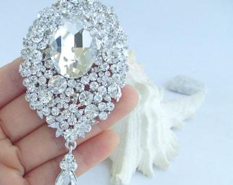 Rhinestone Crystal Wedding Bridal Teardrop Brooch Pendant Bouquet Pin Party Jewelry P053K