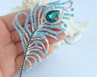 Bridal Wedding Rhinestone Crystal Peacock Feather Brooch Pendant Bouquet Pin P032K