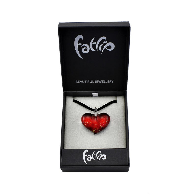 Red Heart Pendant Venetian Glass Handmade Necklace Gold Fleck Heart Shape Red Pendant