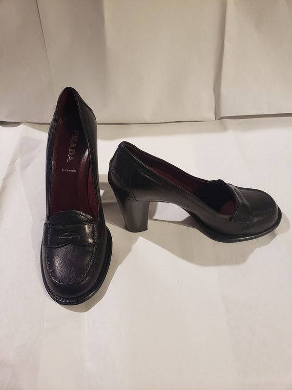 Vintage Prada Black Leather Penny Loafer with Bloc