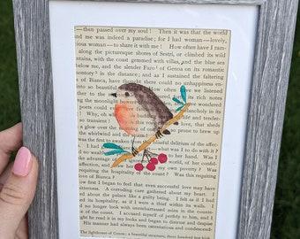 Autumn Bird Watercolor Original on Vintage Book Page (framed)