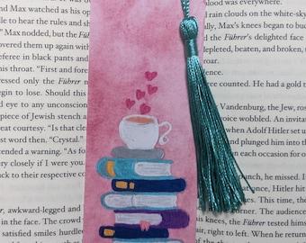 Watercolor Books and Tea Bookmark