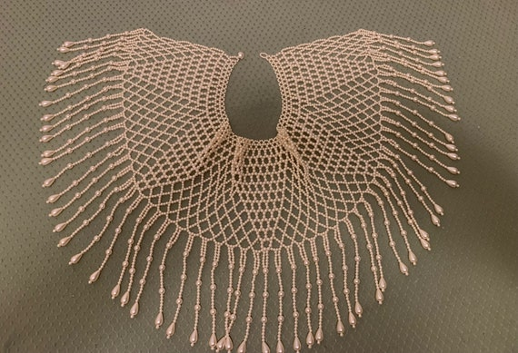 Vintage Faux Pearl Collar Shawl Necklace - image 9