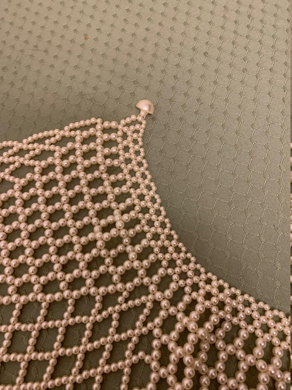 Vintage Faux Pearl Collar Shawl Necklace - image 8