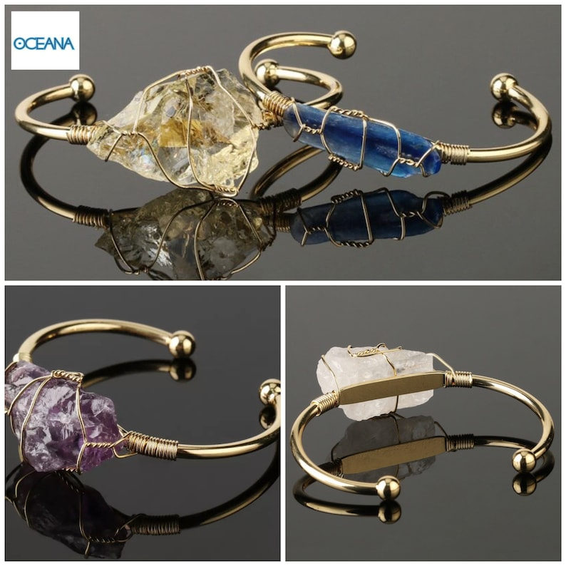 Wire wrapped crystal cuff bangle Protection and guidance bracelet