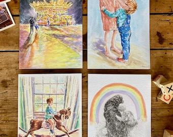 4 Luxury Greetings Cards 'Childhood Memories'