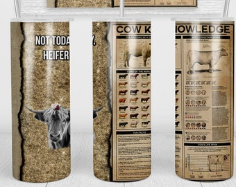 Cattle Cow Knowledge Tumbler   20oz Skinny Tumbler   Gifts for Her, Gift for Mom, Farmer, Barn, Cowgirl gifts