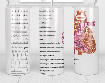 Cardiology Cardiac EKG ACLS   20oz Skinny Tumbler   Fun Gift for Nurses, Cardiologists, Medical Students, Electrophysiologists