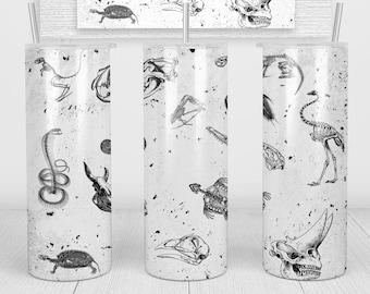 Animal Bones Glow Tumbler, Cup   20oz Skinny Tumbler   Gift for Wildlife Scientists, Biologists, Vintage Animal, Glow
