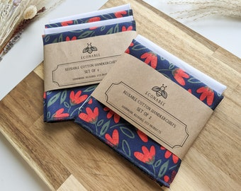 Cotton Handkerchief / Reusable Hankies - Set Of 2 or 4 Navy + Red Floral and White - Gifts for mother, friends, gran for Spring/Summer