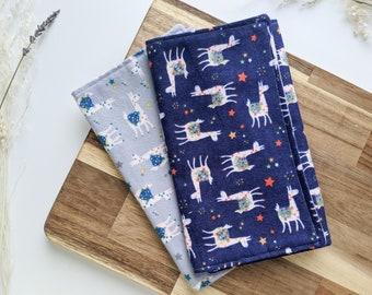 Set of 2 Baby Newborn Burp Cloths Burping Bibs Cloths Spit Up, Baby Shower Gift, Baby Birthday - 100% Brushed Flannel Cotton Llama Print