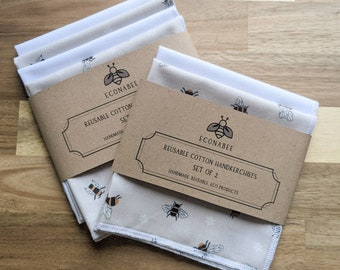 Cotton Handkerchief / Reusable Hankies Set Of 2 or set of 4 Beige Bee and White Birthday Christmas Gift Mother Friend Grandmother