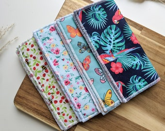 Set of 2 Pattern Reusable Small and Large Flannel Face Cloth Makeup Remover - 100% Cotton and Bamboo Towelling Fabric, Self-care Gift
